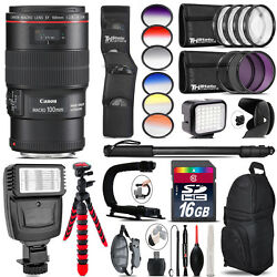 Canon Ef 100mm 2.8l Is Usm Lens + Color Set + Led Light - 16gb Accessory Bundle