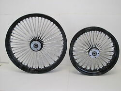 Dna Black Mammoth 52 Fat Spoke Wheels 23x3.5 And 18x3.5 Softail Touring
