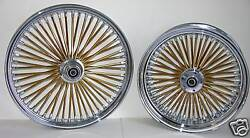 Dna Mammoth Fat 52 Gold Spoke Wheels 21x3.5 18x3.5 Touring Or Softail Harley