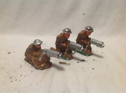 Vintage Barclay Lead Military Figures Toy Soldiers- 3 Machine Gunners
