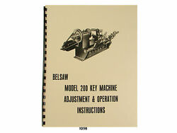 Foley Belsaw Model 200 Key Machine Adjustment And Operation Manual 1098