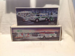 1989 Hess Toy Fire Truck And 2004 40th Anniversary Hess Suv/motorcycles Nib