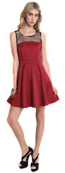 UMGEE Womens Red Evening Occasion Lace Embroidery Dressy Sleeveless Dress S M L $16.10