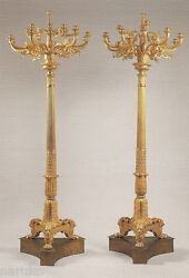 CAST GILT BRONZE 7.8' FLOOR STANDING MAGNIFICENT EMPIRE STYLE TORCHERES