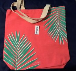 Palm Tree Hot Pink Canvas Tote Bag Beach Shopping Grocery Reusable Old Navy NWT