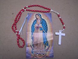 Plastic Ruby-colored Rosary With Prayer Booklet