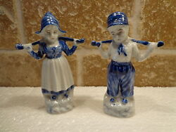 Vintage Lot 2 Dutch Boy And Girl Figurines Marked German 2782 Porcelain 4 Tall