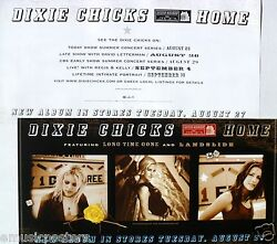 Dixie Chicks Home 2-sided U.s. Promo Poster /banner - Group Shots And T.v. Dates