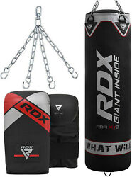 Rdx 5ft Filled Punch Bag With Kick Boxing Gloves And Chains Mma Training Black