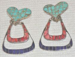 Artisan Signed Clip Earrings, Sterling Silver, Turquoise, Coral And Lapis