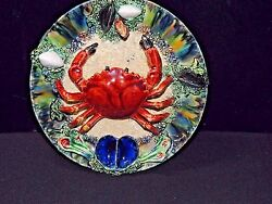 Antique 19th Century Majolica Palissy Ware Cancer Crab Wall Plate [authentic]