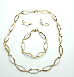Diamond Necklace Earrings Bracelet Set 9 Carat Yellow And White Gold Quality