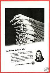 Vintage WWII Ad~1944 Bell TELEPHONE Switchboard Operator ~The Hurry Calls of War