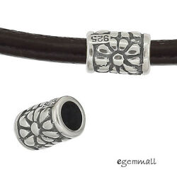 2 Antique Sterling Silver Floral Textured Tube Spacer Beads 97976