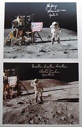 Apollo 16 Crew Moonwalkers Signed Lunar Photographs Autographs Young And Duke