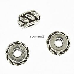 6 Antique Bali Sterling Silver Rope Rondelle Spacer Beads Ap. 5mm 97747
