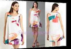 $2175 Chloe Chloé Silk Vortex Paint Brush Print Trapeze Dress 40 EU  8 US