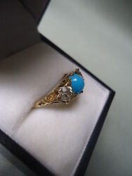 Sublime Antique .80ct 2x.40 European Cut Diamond And Turquoise 18k Gold Ring