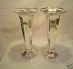 Fabulous Pair Vintage Reed And Barton Sterling Art Deco 12.5 Trumpet Vases