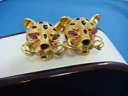 18k Yellow G Panther Cuff-links 24.4 Grams Heavy With Rubies And Black Enamel