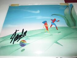 Stan Lee Marvel Signed Spider Man And Spider Woman Production Cel 1970and039s Rare