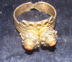 Silver Antique Vintage Ring Yemenite Israel Jewelry Red Stone Gilt