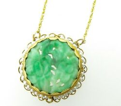 .1950andrsquos 14k Gold Carved Fruit And Flowers Jadeite And Natural Seed Pearl Necklet