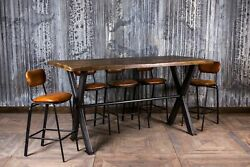 9ft Poseur Bar Table Tall Industrial Style Steel X Frame Restaurant Dining Table