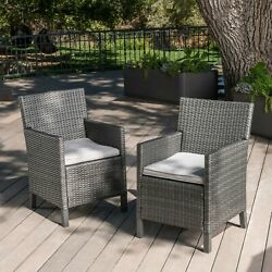 Cyrus Outdoor Wicker Dining Chairs With Water Resistant Cushions Set Of 2