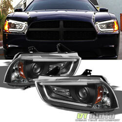 Black 2011-2014 Dodge Charger Drl Led Tube Projector Headlights Headlamps 11-14