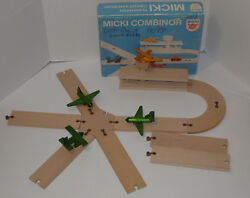 Vintage Micki Combinor Wooden Toy Airport In Box 3 Airplanes Made In Sweden