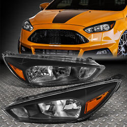 For 15-18 Ford Focus Oe Style Black Housing Amber Corner Headlight Head Lamps