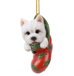 STOCKING PUPS Ornament WESTIE DOG PUPPY Christmas Hanging Decor WHITE TERRIER