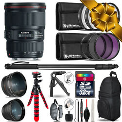 Canon 16-35mm Is Usm - 3 Lens Kit + Tripod + Backpack - 32gb Accessory Bundle