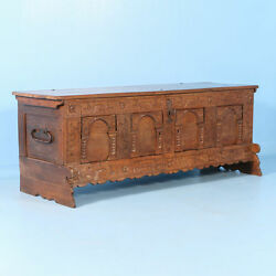 Antique 18th Century Carved Oak Trunk and Sideboard Cabinet