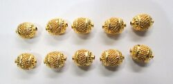Vintage Antique Handmade 22k Gold Jewelry Beads Set Of 10 Pieces India