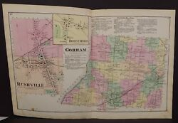 New York Ontario County Map Gorham Rushville Township 1874 Dbl Pg W1511