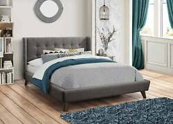 Mid Century Mod Button Tufted Gray Grey King Woven Fabric Bed Bedroom Furniture