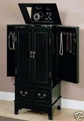 Black Painted Flip Top Mirror Jewelry Armoire Chest Box