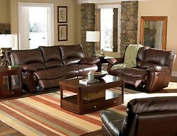 Dark Brown Leather Match Reclining Sofa And Love Seat Living Room Furniture Set