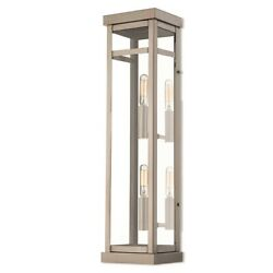 Livex Hopewell 2 Light Outdoor Wall Lantern In Brushed Nickel, 5.5w - 20706-91
