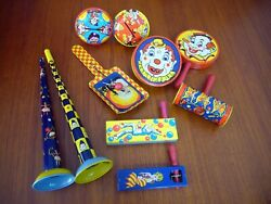 10 Tin Litho Noise Makers Kirchhof Clown Jester Rattle New Years Party Crank