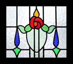 Pretty Mackintosh Rose Antique English Stained Glass Window