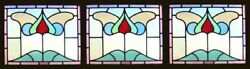 Stunning Antique English Edwardian Set Of 3 Floral Stained Glass Windows