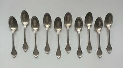 Set/10 19th C. Wood And Hughes Ny Angelo Sterling Demitasse Spoons 105 Grams