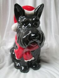 NEW CHRISTMAS SCOTTISH TERRIER COOKIE JAR DOG Biscuit
