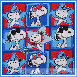 Boneful Fabric Fq Cotton Quilt Block Red White Blue Star Peanuts Snoopy American