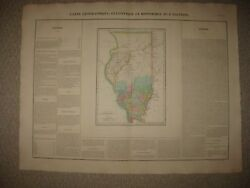Huge Important Antique 1825 Illinois Chicago Carey And Lea Buchon Handcolored Map