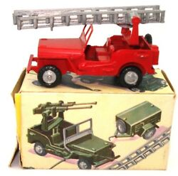 Fj France Jouets Willys Jeep Pomiers Fire Dept - Mint And Boxed And Ultra Rare