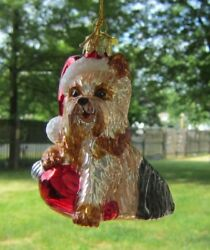 Glass Ornament YORKSHIRE TERRIER wHoliday Bulb Xmas Ornament